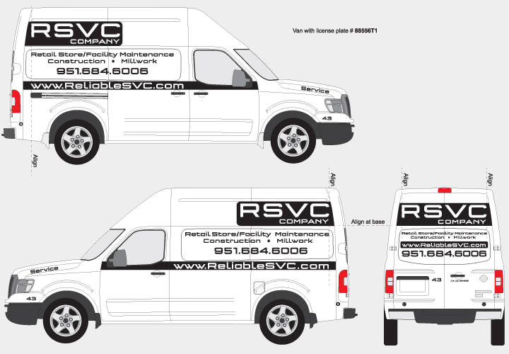 Graphic positioning guide for RSVC NV2500 Vans