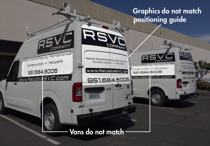 These vans don't match and graphics are in the wrong place